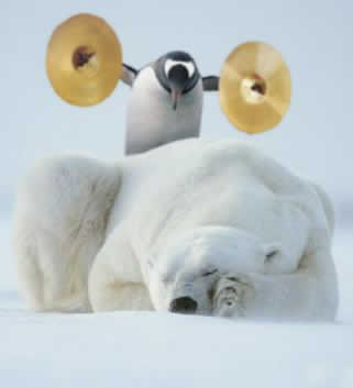 Penguin with cymbals sneaking up on a sleeping polar bear.