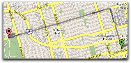 Screen capture: Portion of a Google Map showing the route from Queen and Spadina to Bloor and High Park, Toronto, Ontario.
