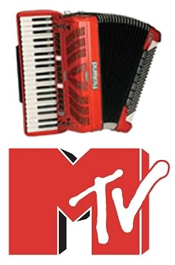 Red accordion and MTV logo.