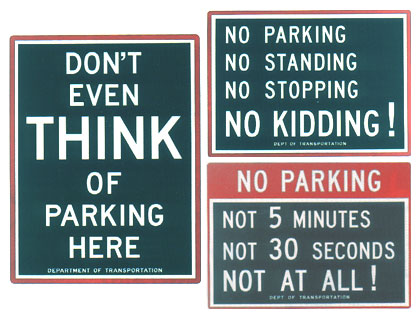 Assortment of NYC parking signs.