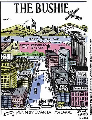 Ted Rall's Parody of Saul Steinberg's 'New Yorker' cover: 'A View of the World from Pennsylvania Avenue