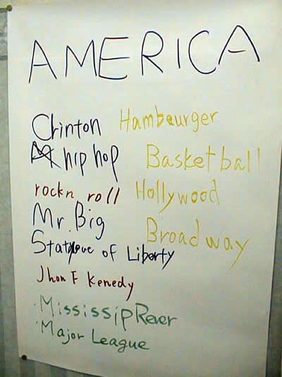 List of things that Japanese students associate with America.