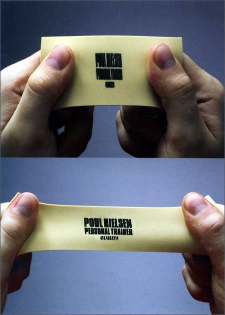 Toronto-based trainer Poul Nielsen's stretchy business card.