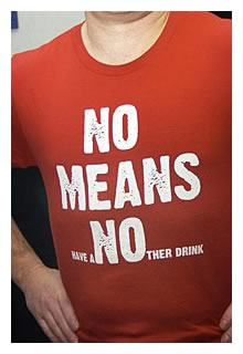 'NO MEANS have aNOther drink' t-shirt from Bluenotes.