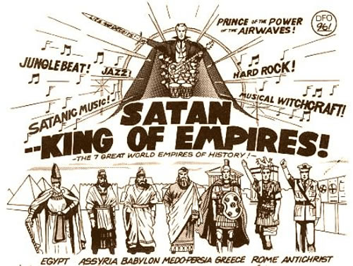 Old comic graphic: 'Satan - King of Empires!