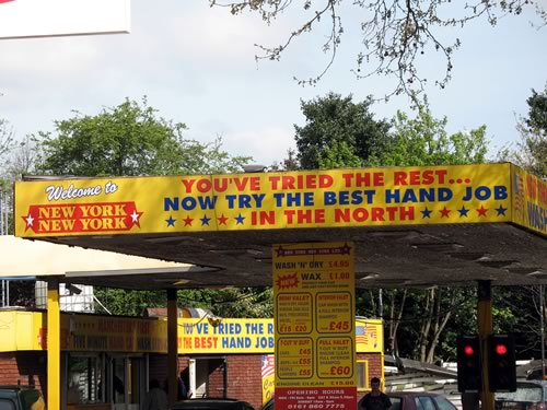 British car wash boasting 'the best hand job in the north'.