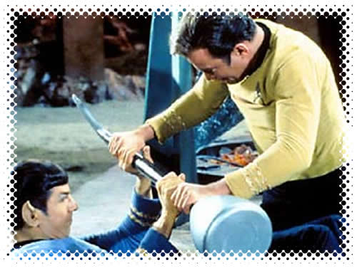 Kirk and Spock fighting in the Vulcan 'kal-if-fee' ceremony.