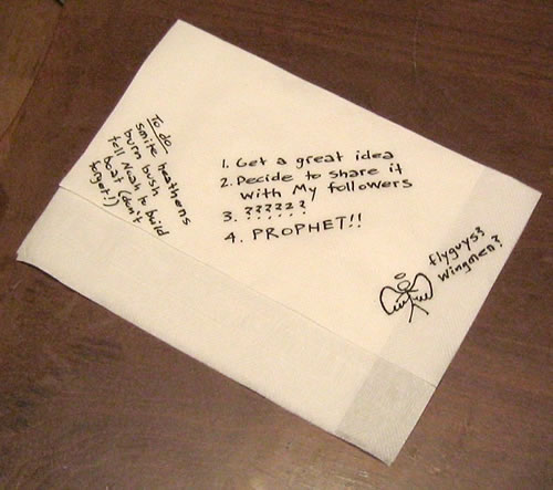 God's business plan, written on a napkin.