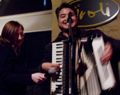 Joey deVilla doing accordion-assisted karaoke at the Rivoli nghtclub, Toronto.