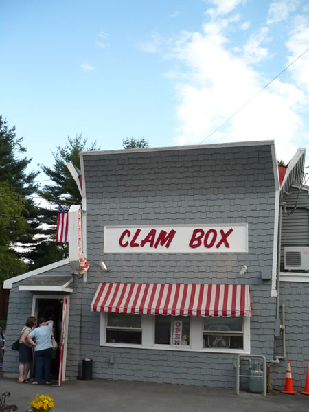 "Exterior of the ""Clam Box"" restaurant, Ipswitch, Massachusetts."
