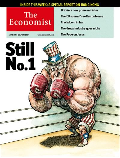 Magazine cover: The Economist for June 30, 2007, featuring an illustration of Uncle Sam in the corner of a boxing ring