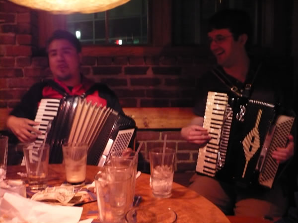 Joey deVilla and Mike Zole playing accordions at Grendel's Den, Harvard Square.