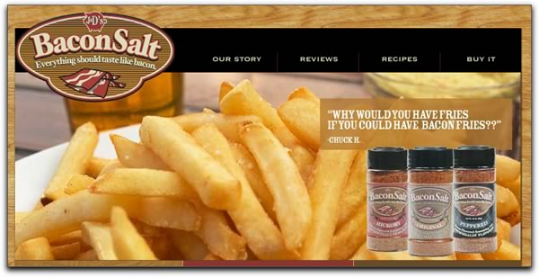 "Screen capture of the ""Bacon Salt"" home page"