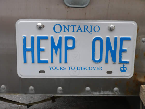 """HEMP ONE"" licence plate on the back of the ""Hemp on Wheels"" truck"