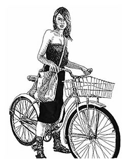 Hipster woman in hipster dress on hipster bike.