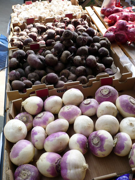 Turnips, beets and garlic