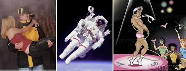 3 photos: fireman (carrying a beautiful woman to safety), astronaut doing spacewalk, male stripper in front of screaming women