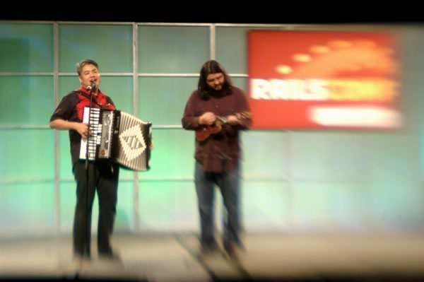 Joey deVilla and Chad Fowler playing the opening number for an evening keynote at RailsConf 2007.