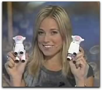 "Amber Mac on ""Homepage"" with Tucows squishy cows"