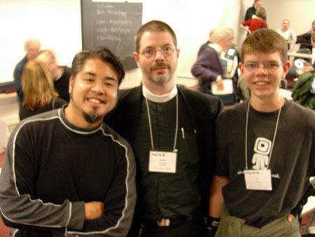 """Joey deVilla, A.K.M. """"AKMA"""" Adam and Josiah """"Si"""" Adam at BloggerCon 2003."""