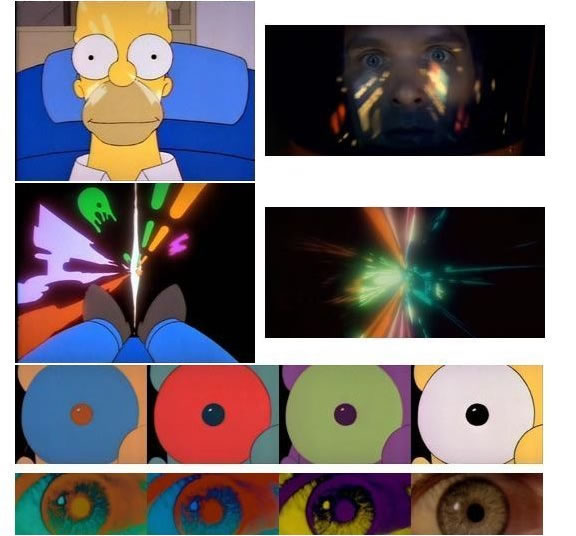 "Simpsons stills referencing ""2001″ — the Jupiter entry sequence"