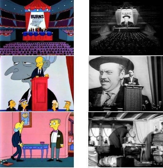 "Simpsons stills referencing ""Citizen Kane"""