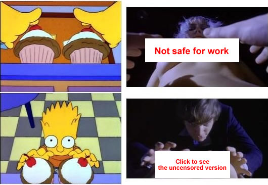 "Simpsons stills referencing ""Clockwork Orange"" -- the censored version."