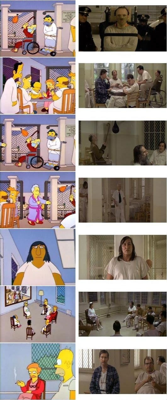 "Simpsons stills referencing ""One Flew Over the Cuckoo's Nest"""