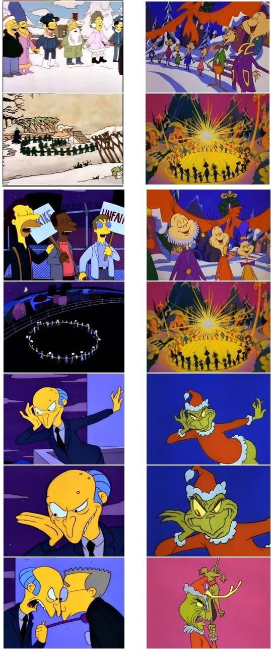 "Simpsons stills referencing ""The Grinch Who Stole Christmas"""