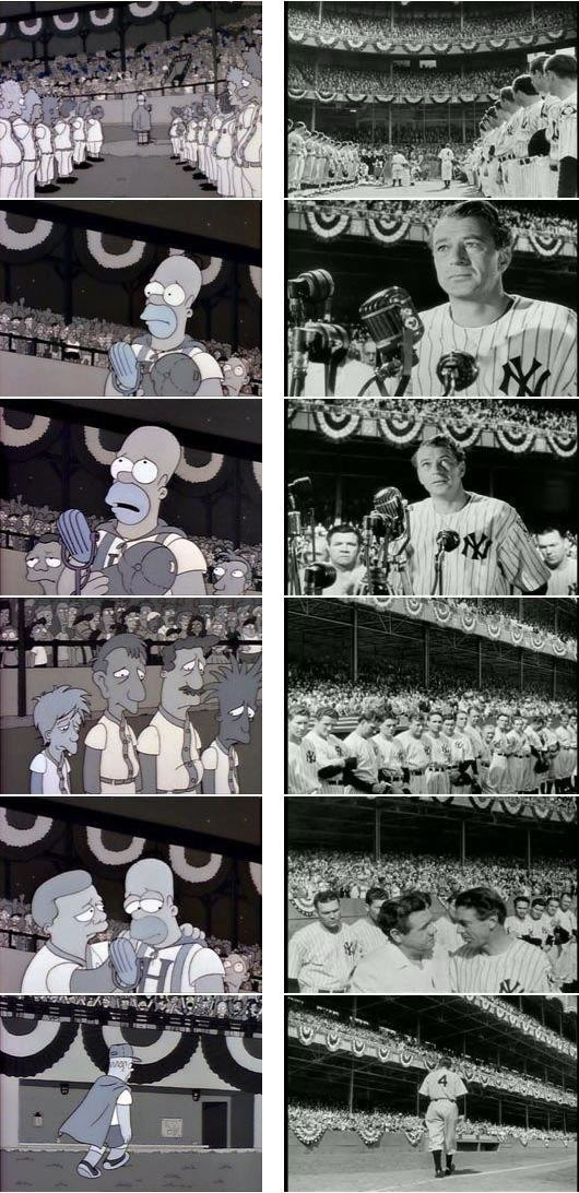 "Simpsons stills referencing Lou Gehrig's farewell speech / ""Pride of the Yankees"""