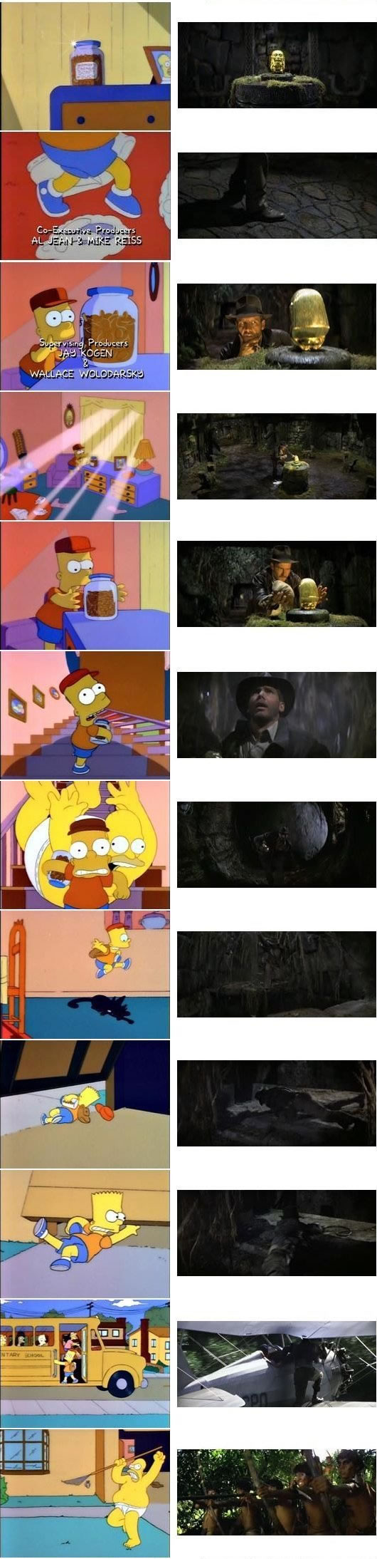 "Stills from the Simpsons' homage to ""Raiders of the Lost Ark"""