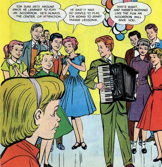Old 1950s comic: Boy on accordion at party surrounding by adoring girls.