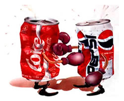 A Coke can and a Pepsi can, boxing