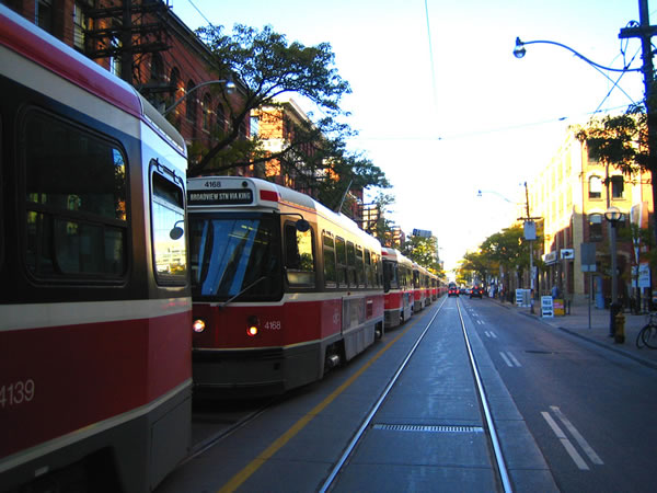 Lineup of streetcars at King and Spadina