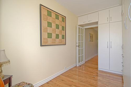 Bedroom to Toronto's smallest house, with the Murphy bed retracted.