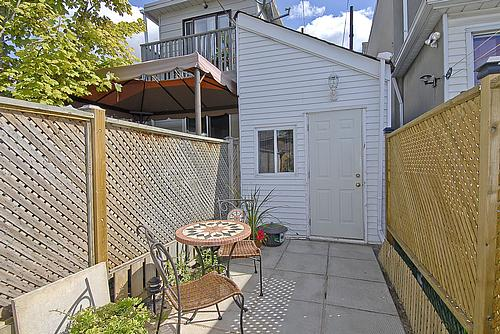 Patio of Toronto's smallest house, looking towards the front.