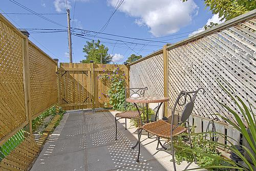 Patio of Toronto's smallest house, looking towards the back.