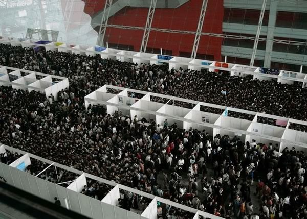 The incredible crowd at a job fair in China