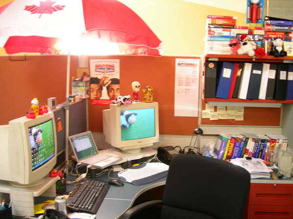 My desk at the Tucows office in Spring 2006.