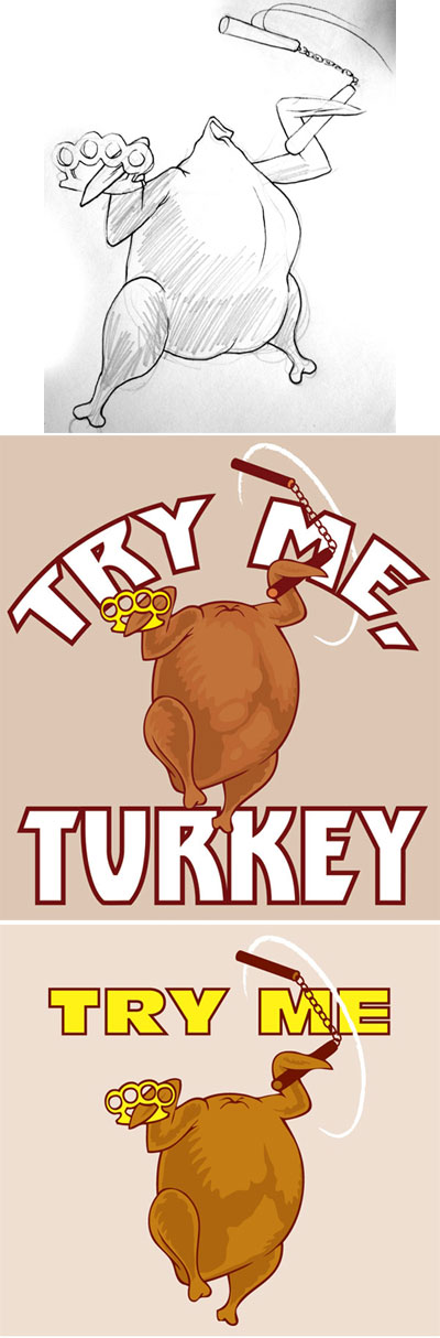"Woot.com t-shirt design: Turkey with brass knuckles, knife and nunchucks with the caption ""Try me!"""