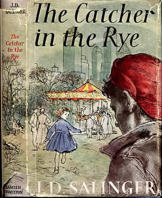 "Dust jacket for an old hardcover edition of ""The Catcher in the Rye"""