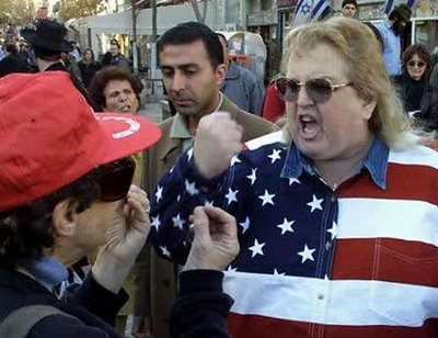Fat woman in an American flag shirt with clenched fist