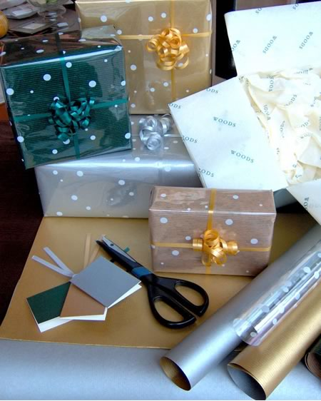 Gift wrapping paper and scissors
