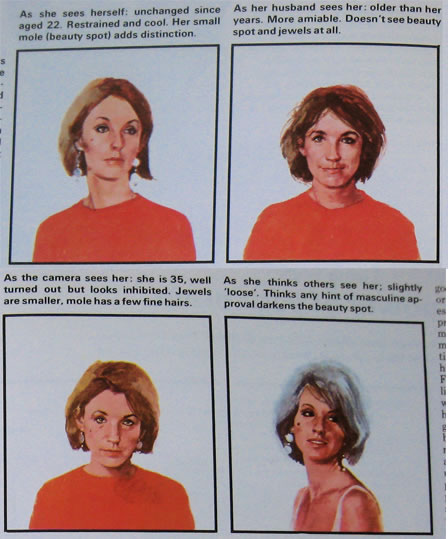 """Paintings from """"Understanding Human Behavior"""" depicting the different ways a wife is perceived"""