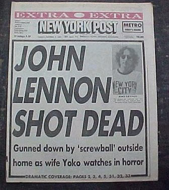 "Cover of the ""New York Post"", December 12, 1980 — with the ""John Lennon got shot"" story"