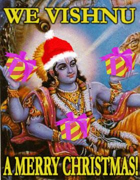 "Vishnu holding presents: ""We Vishnu a Merry Christmas"""