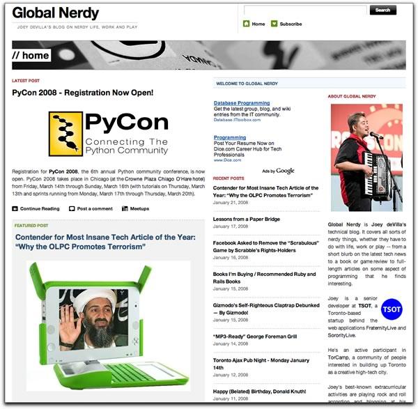 """Screenshot of the current """"Global Nerdy"""""""