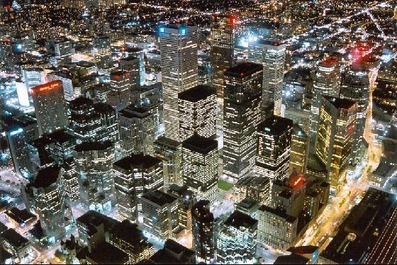 Aerial shot of downtown Toronto at night