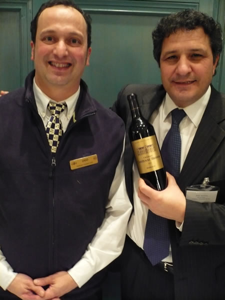 Wine server Ugo and Chateau Cantenac-Brown's manager, Jose Sanfins.