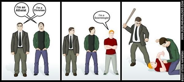 "Comic: ""I'm an Atheist. I'm a Christian. I'm a Scientologist."""